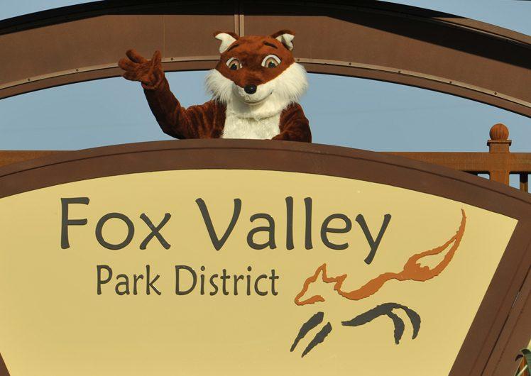 Fox mascot standing on V.L. Gilman Trail Bridge